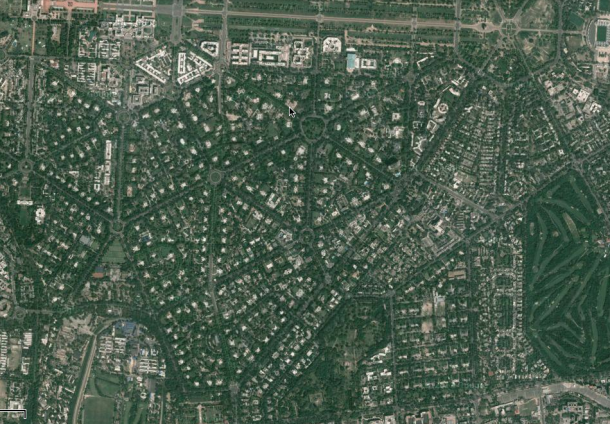 Lutyen's Delhi, marked by green streetscapes and dotted with bungalows